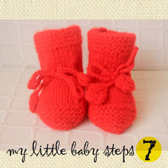 Hand Knitted Baby Girl Neon Red Baby Booties...