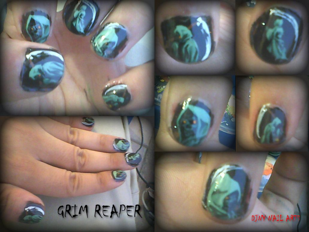 Grim reaper nail art design by on
