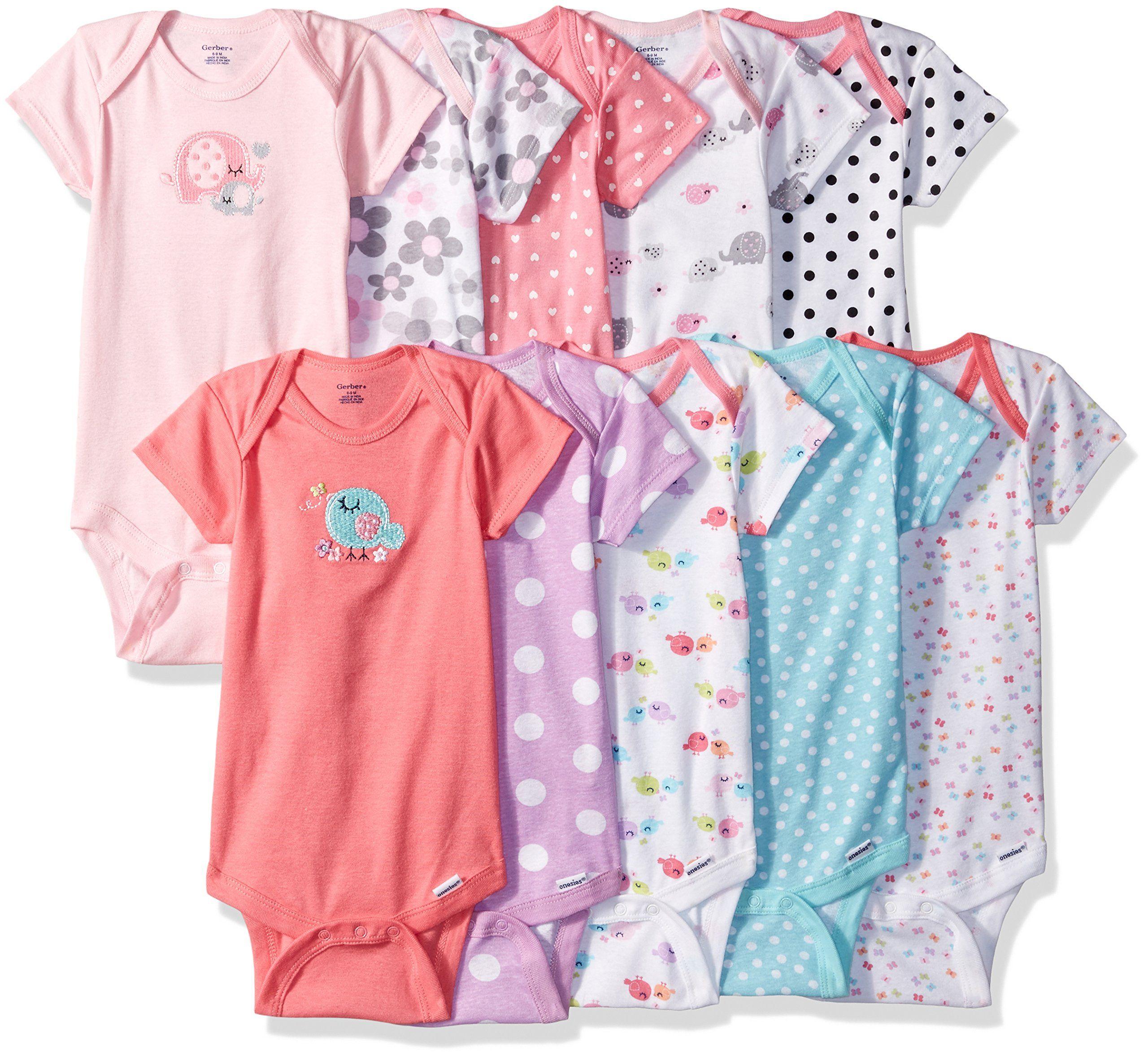 Gerber Baby Girls\' 10 Pack Onesies Bundle, Elephant/Birdie, 3-6 ...