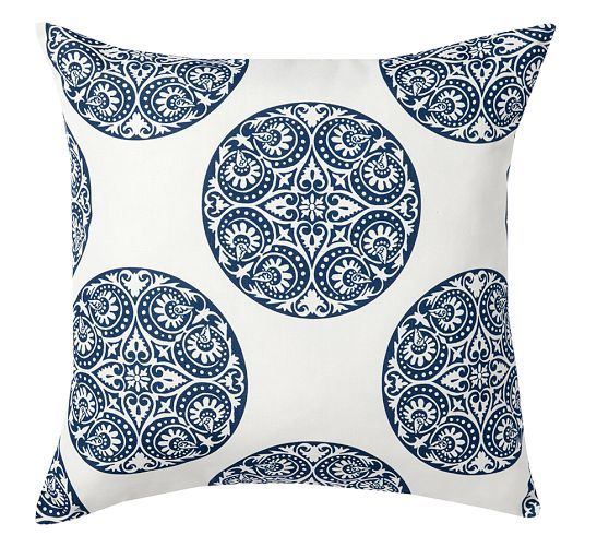 Greta Blue And White Medallion Indoor Outdoor Pillow