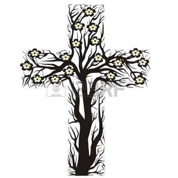 jesus love floral christian cross tree shape on a white background vector illustration. Black Bedroom Furniture Sets. Home Design Ideas
