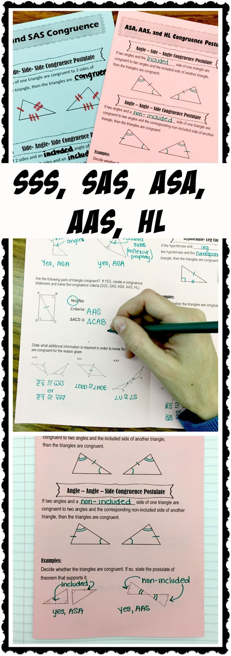 Congruent Triangle Notes SSS, SAS, ASA, AAS, HL