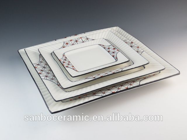 Ceramic Square Plate with classic decoration in high quality, Chaozhou porcelain factory
