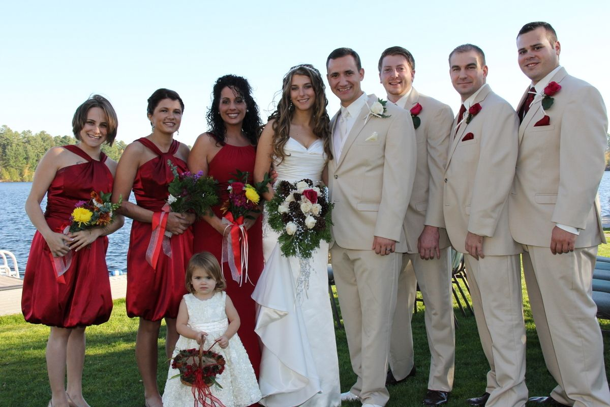 Bridal party fall wedding red bridesmaids dresses tan suits red bridesmaids dresses tan suits with red accents groomsmen ombrellifo Image collections