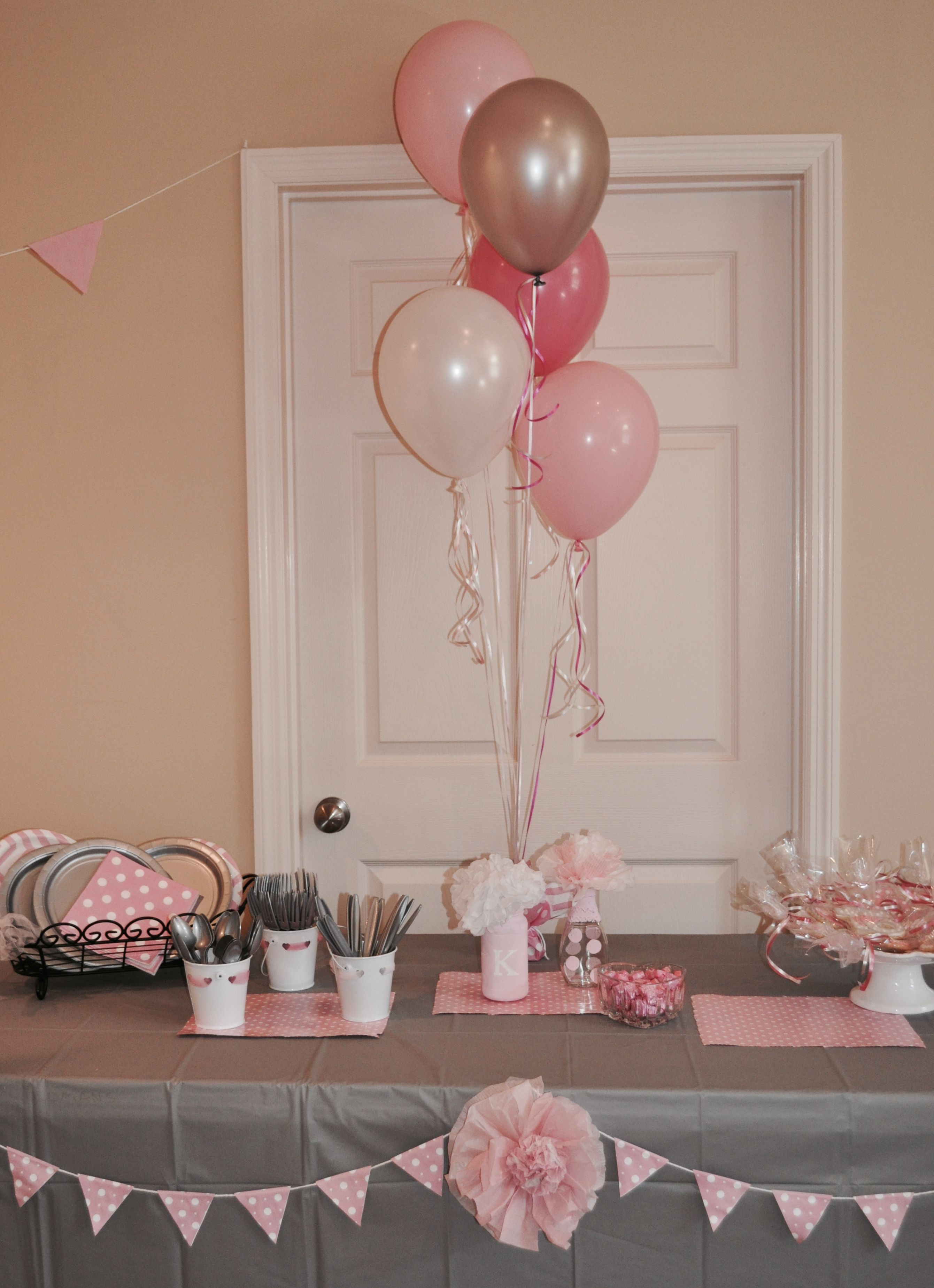Sweet 16 slumber party with pink, gray and white color scheme.