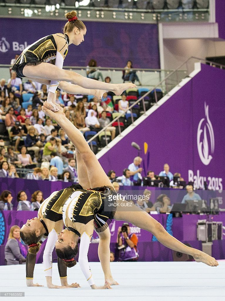 Belgium's gymnasts compete in the women's group all-around final of the acrobatic gymnastics event at the 2015 European Games in Baku on June 19, 2015.