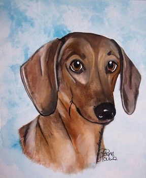 Dog Dachshund Aceo From Original Houle Watercolor Painting Aceo By