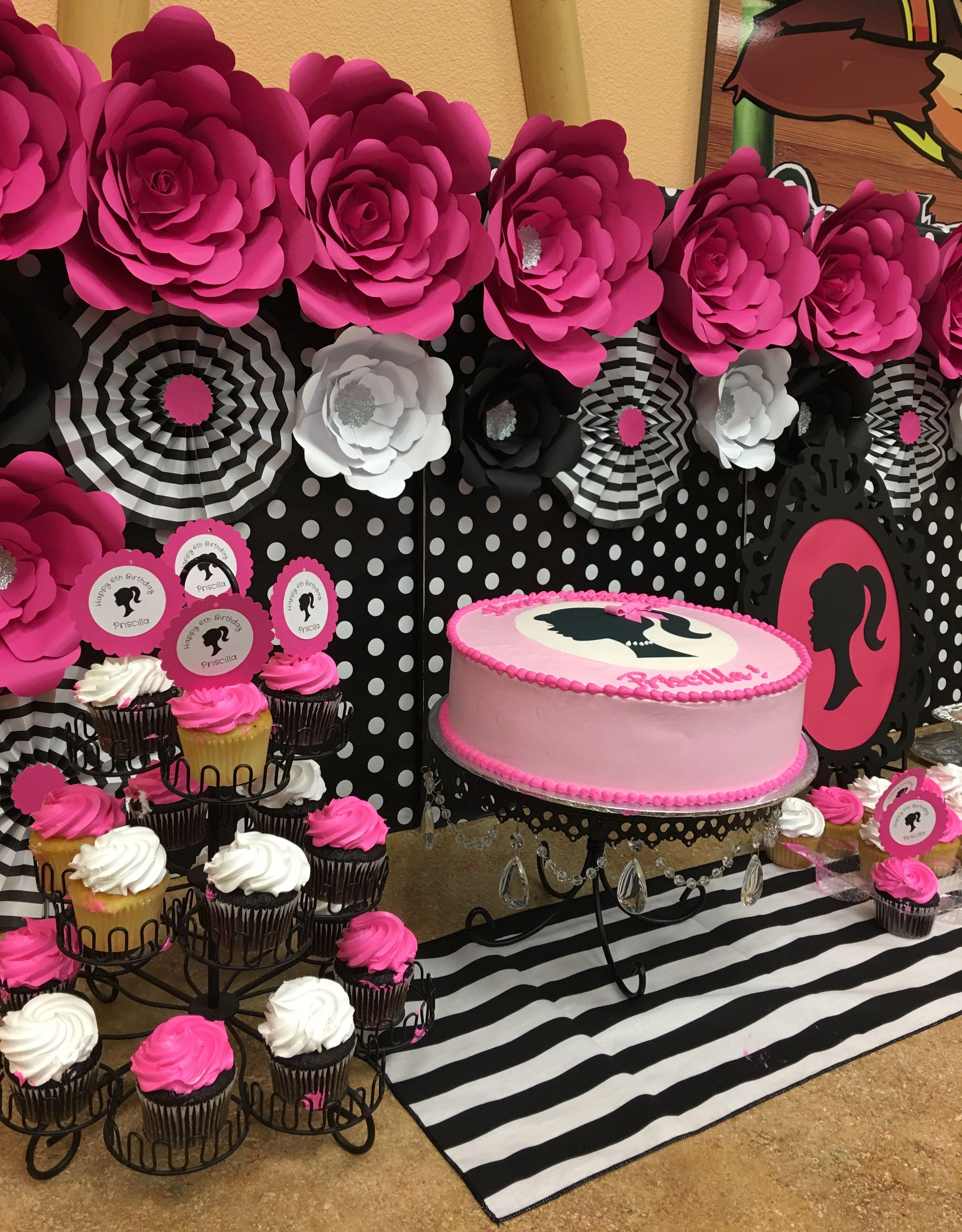 Barbie silhouette party giant paper flowers polka dots - Todo para fiestas de cumpleanos ...