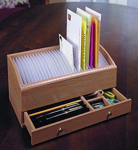 Wooden Desk Organizer w// Drawers Office Desktop Stand Tabletop Rack File Holder