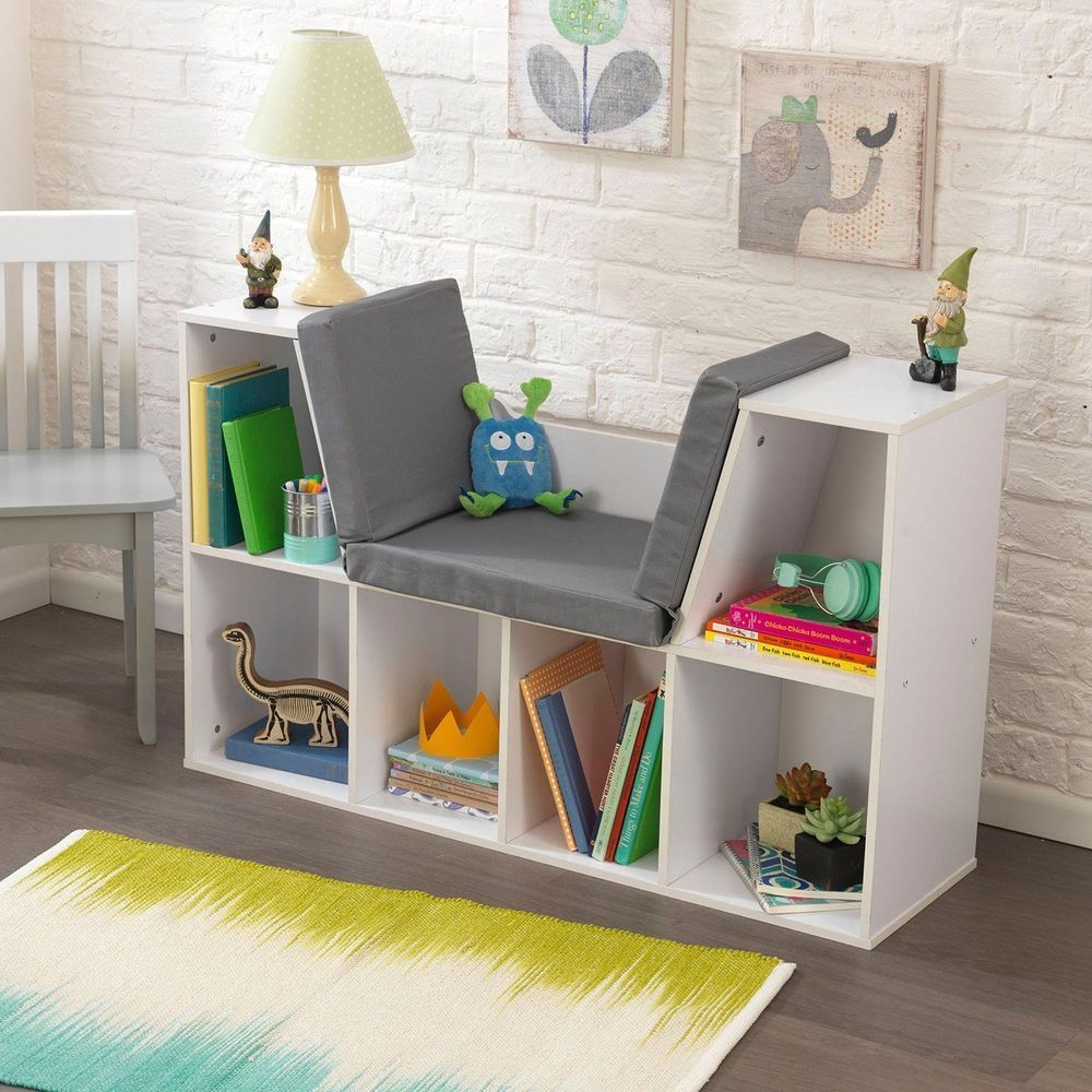 Kids Bookcase With Reading Nook Cushion White Wooden Toy Organizer Storage  Unit