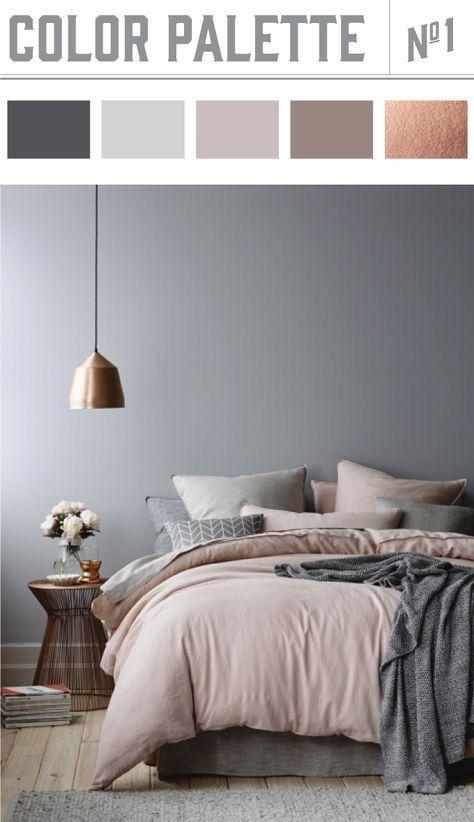 2018 bedroom colours grey pink copper | Home | Paletas de ...