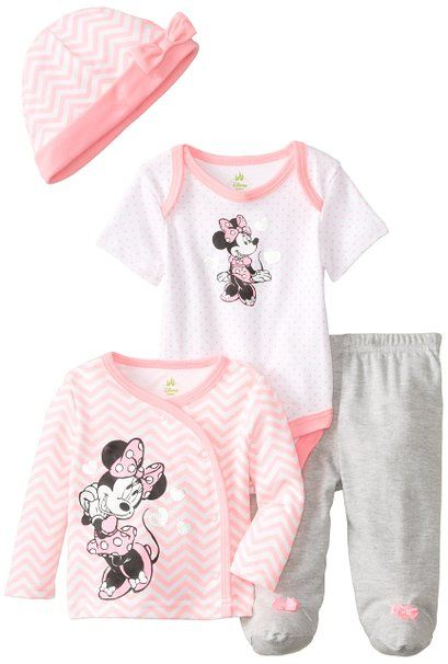 d776b376e38 Disney Baby Baby-Girls Newborn Minnie Mouse 4 Piece Gift Set, Multi, 3  Months