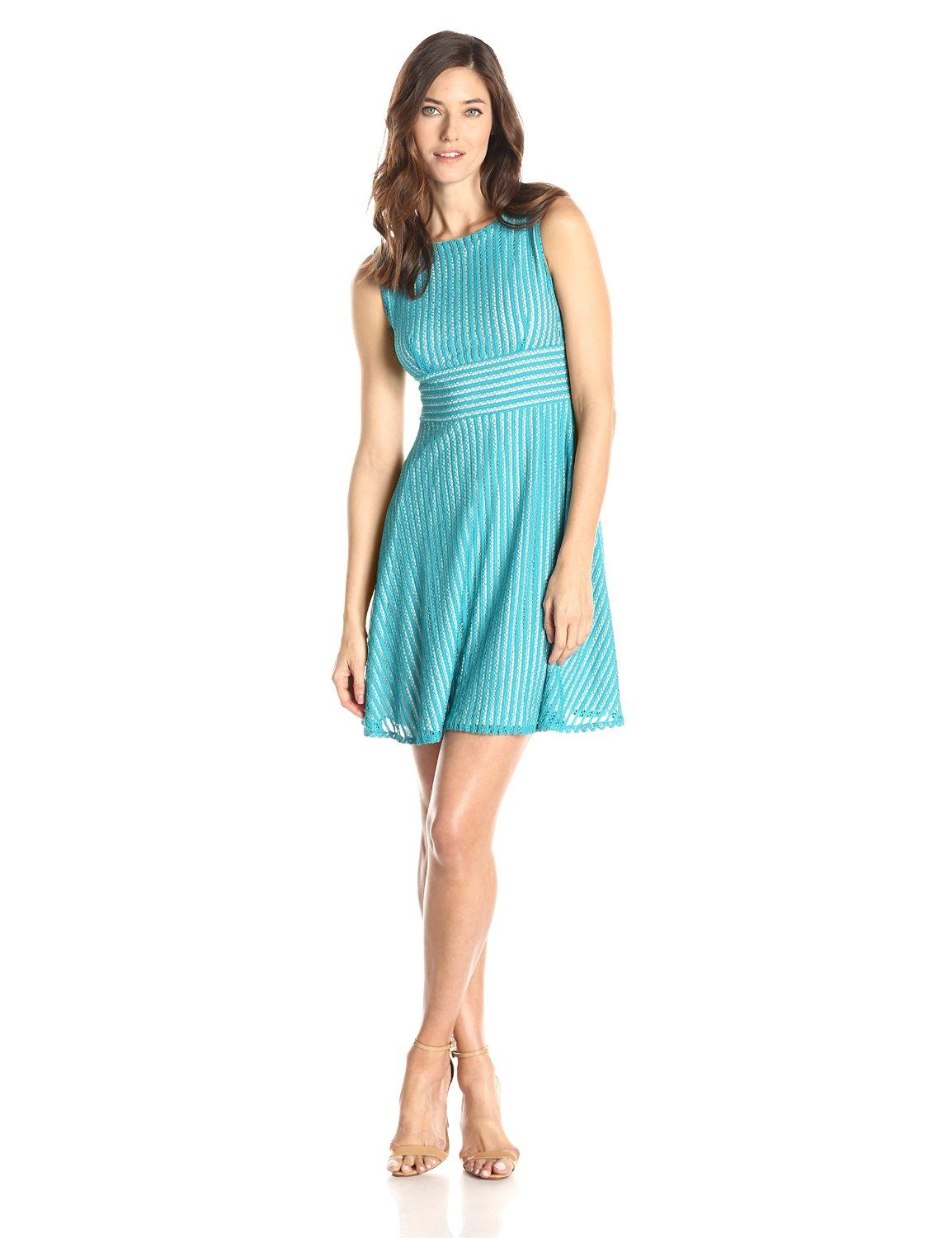 c7107379676 Sleeveless Banded Waist Flare Dress by Gabby Skye   Night Out ...