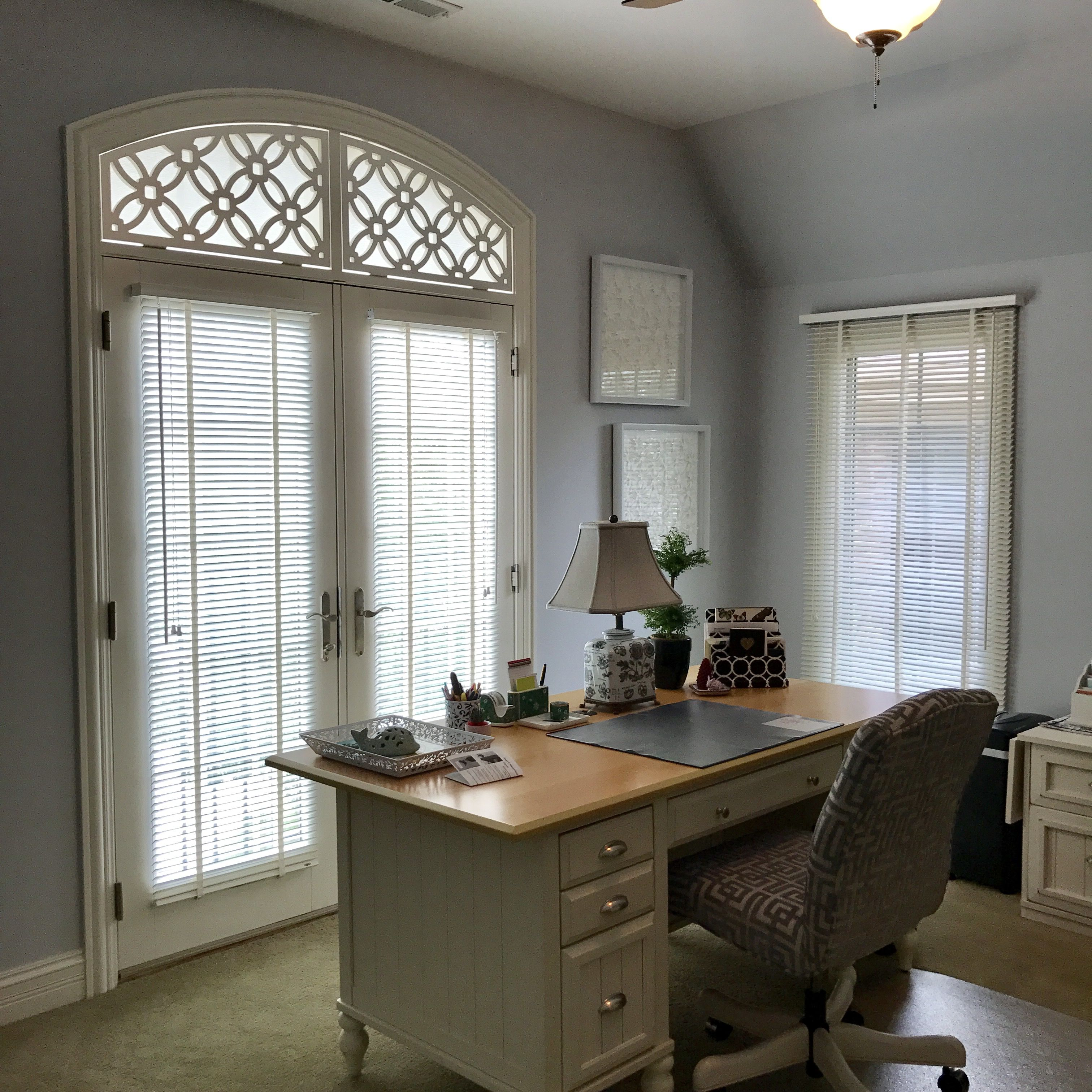 Tableaux With Screen Shade For Glam Home Office In Vernon Hills IL.