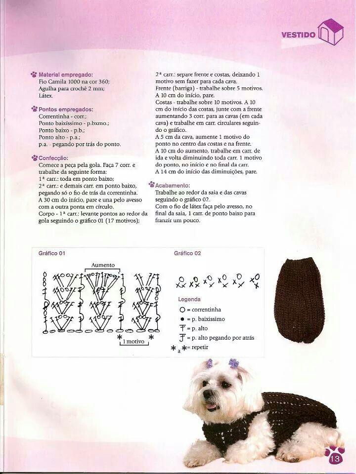 Pin de Kathy Tanaka en Crochet | Pinterest | Ropa para perros ...