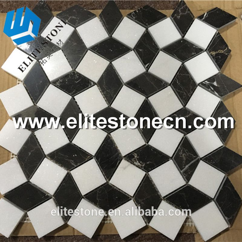 Black And White Marble Mosaic Floor Tile On Mesh Buy High Quality