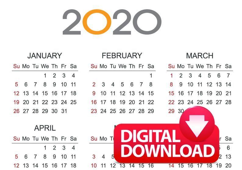 Calendrier Digital.2020 Calendar Digital Download Pdf Plain Horizontal