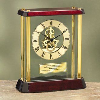 Table Cherry Wood Desk Clock Enclosed In Glass Brass Pillars With Da Vinci  Dial And Gold Good Looking
