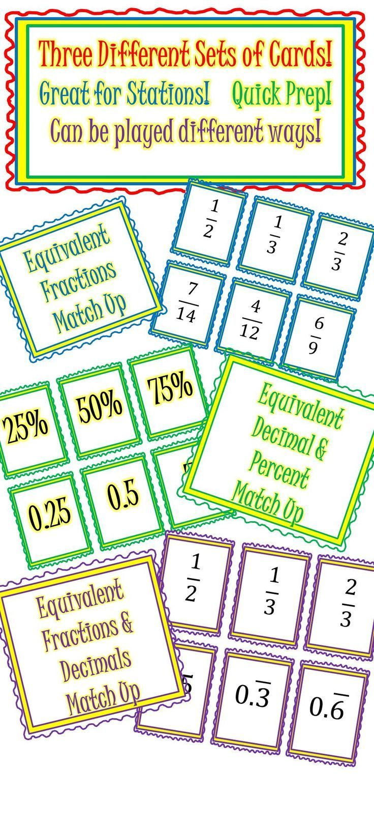 Fractions Decimals & Percents Matching Card Sets - 3 different sets ...