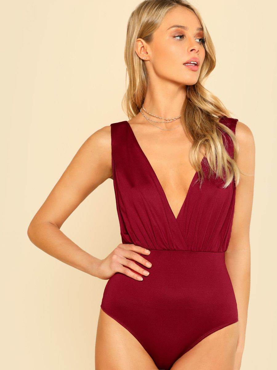 192762d8a4 Shop Double Deep V Neck Bodysuit online. SheIn offers Double Deep V Neck  Bodysuit & more to fit your fashionable needs.
