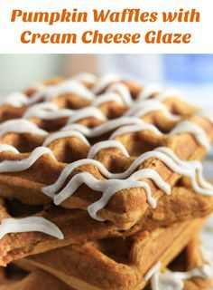 Pumpkin waffles with cinnamon cream cheese drizzle Pumpkin Waffles with Cream Cheese Drizzle are a delicious fall breakfast!  They are light, fluffy, and crispy on the outside and are topped with a cinnamon cream cheese glaze! |  via @greenschocolate