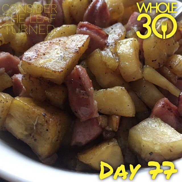 """""""Family favorite of plantains and sausage!  #whole30 #whole100 #CTLTwhole100 #whole30homies #2015IGwhole30 #cleanwhole30 #eatrealfood #cleaneating #jerf #healthy #mealideas #paleo #recipe #blog #considertheleafTURNED #day77"""" Photo taken by @considertheleafturned on Instagram, pinned via the InstaPin iOS App! http://www.instapinapp.com (03/15/2015)"""