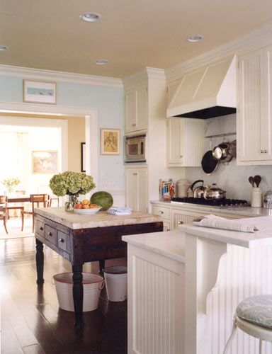 LOVE the island and backsplash.  And the hood and the white cabinets (of course).  I must have a gas stove-top with storage underneath and a real vented hood.      And I like the fresh, airy blue on the walls.  Looking for a perfect blue for my bedroom.