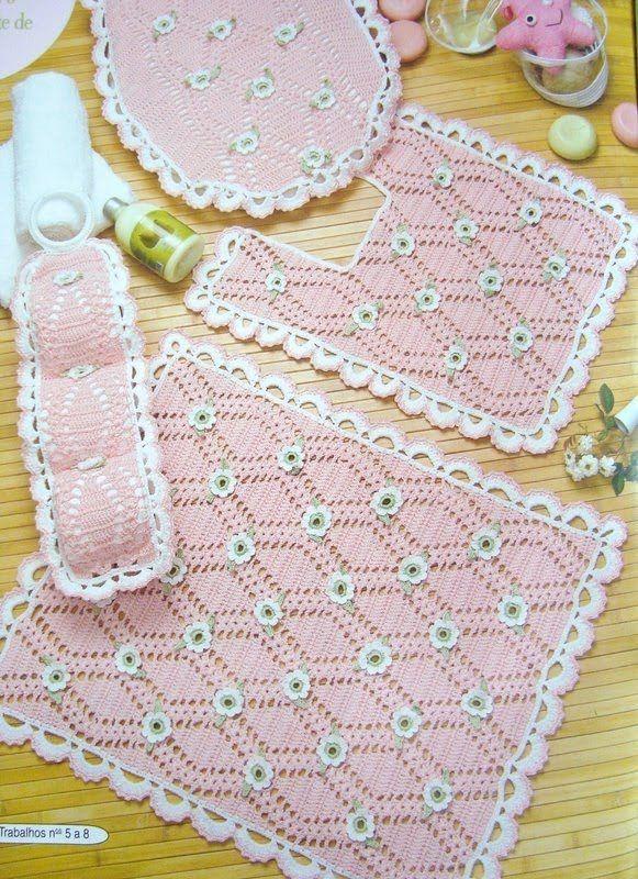 Juego de ba o a crochet imagui crochet pinterest for Set de bano tejidos