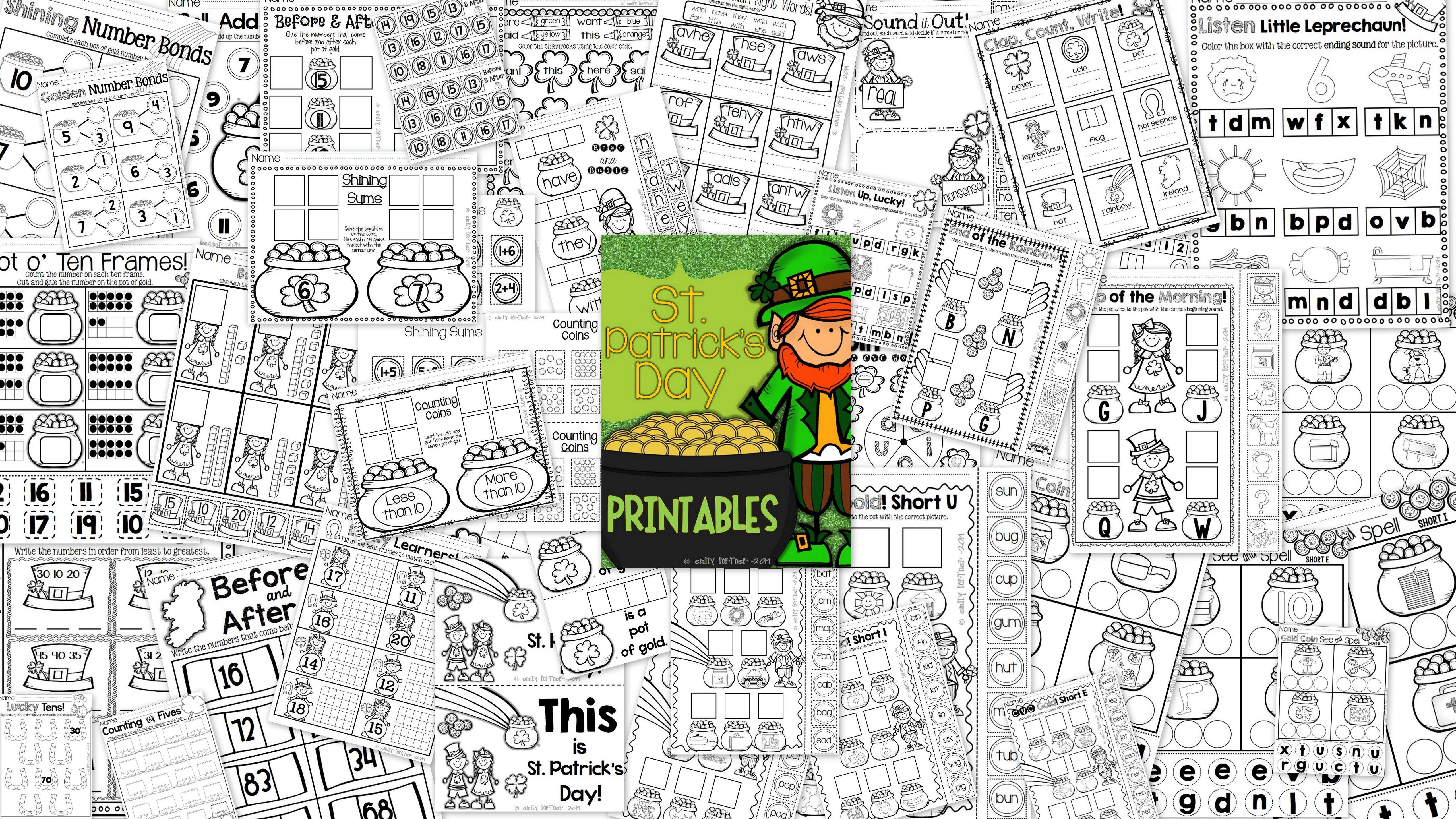Sttrick S Day Printables For Kindergarten