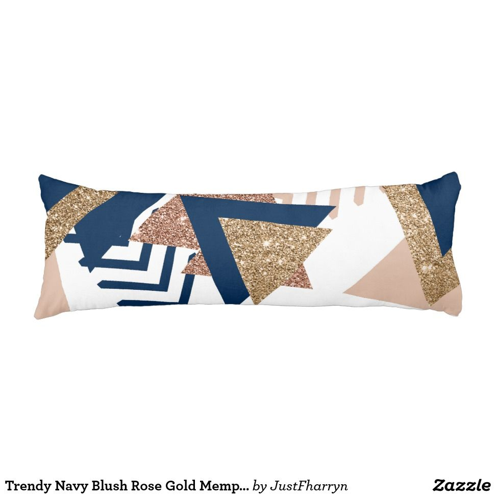 Trendy Navy Blush Rose Gold Memphis Abstract Shape Body Pillow Throw Pillows Floor Pillows Rectangular Pillows Gold Throw Pillows Gold Duvet Gold Pillows