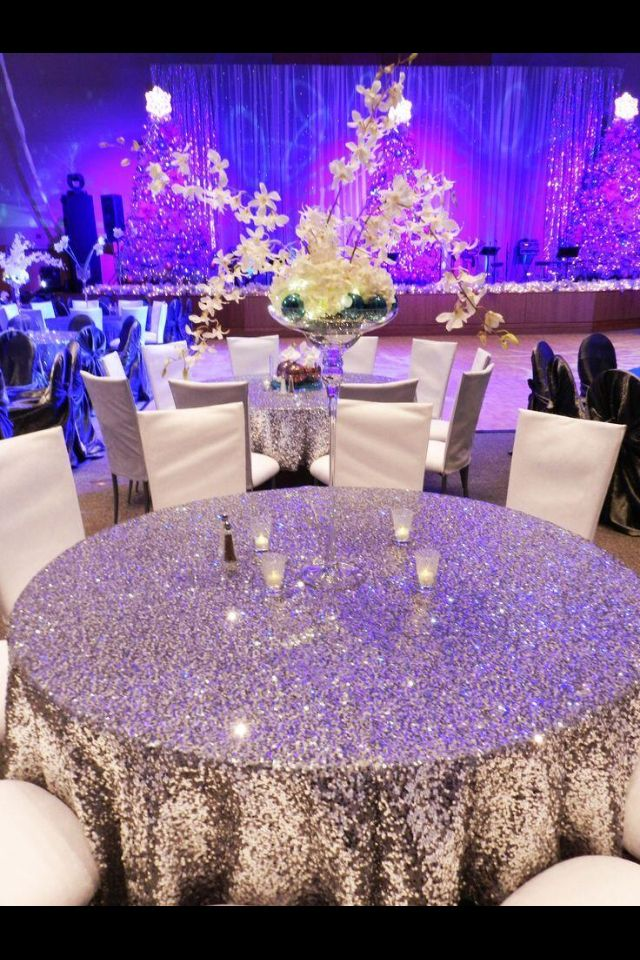 Adorable Diy Table Cloth At A Wedding No Centerpiece Needed With This Much Bling Wedding Wedding Decorations Dream Wedding