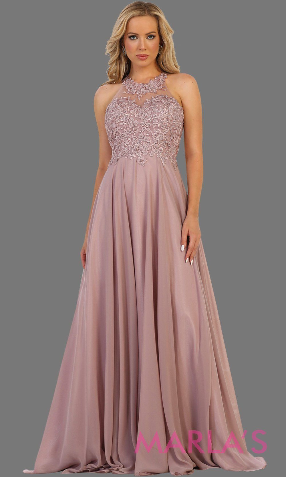 de84a9b809bdb Long dusty rose flowy high neck dress with lace top and open back. Perfect  for mocha prom dress, wedding guest dress,formal party evening gown, ...