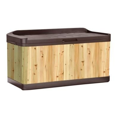 Suncast Cedar And Resin Hybrid Deck Box With Seat Wrdb9922 At The Home Depot Patio Storage Deck Storage Deck Box