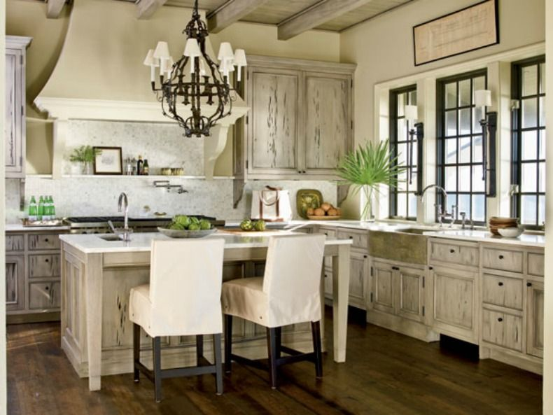 Rustic Coastal Kitchen With Pull Up Slipcover Chairs