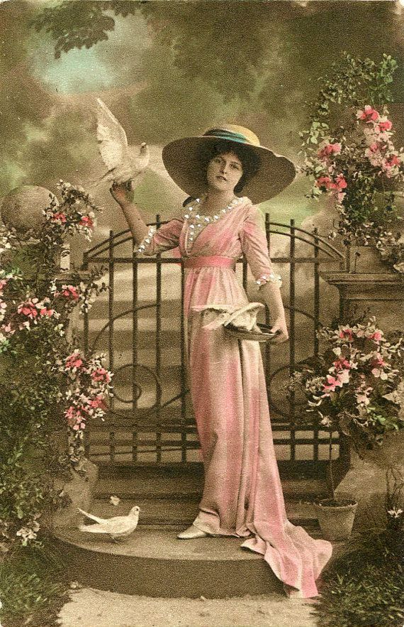 light sepia colored Postcard- Art Nouveau Warm Greetings any occasion Elegant WOMAN with DOVE- 1908 French written Vintage real Photo