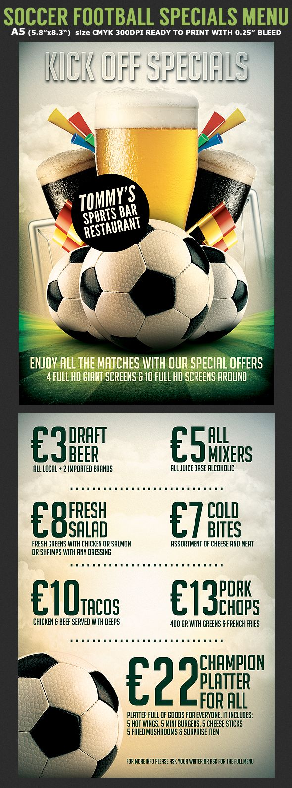soccer football bar flyer menu template on behance ad ideas