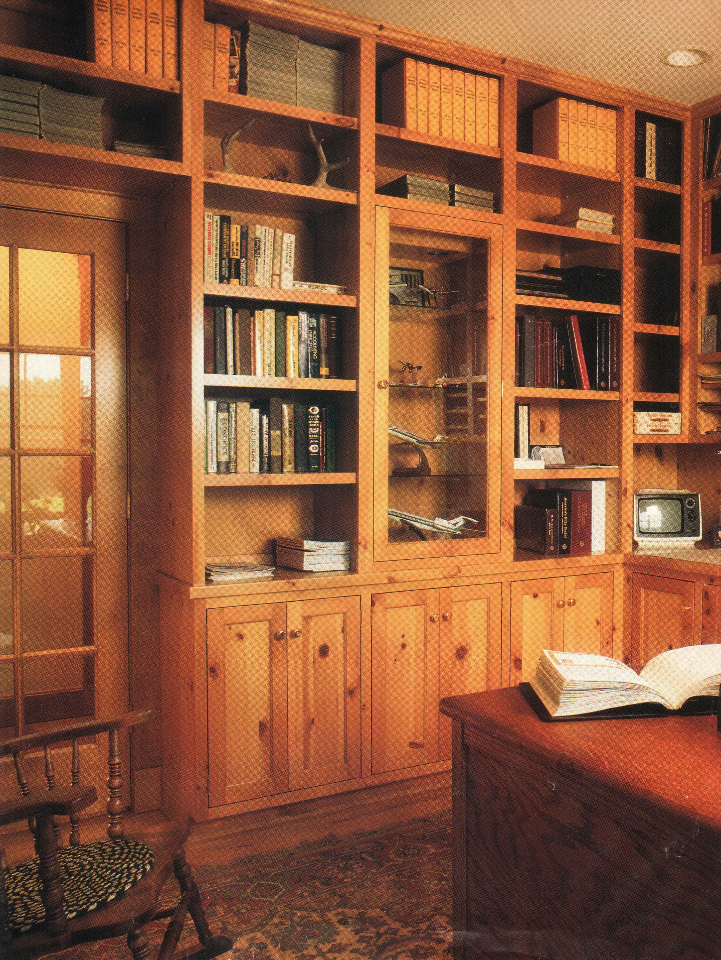 Rustic Knotty Pine Bookcases - photo via Home Plan Ideas Magazine