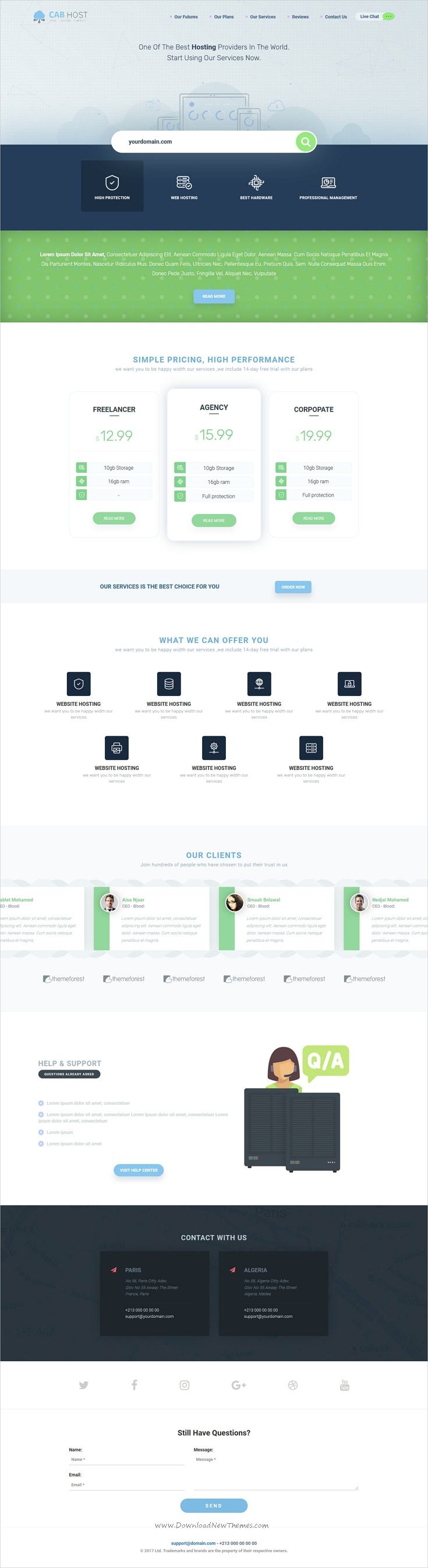Cabhost Is Clean And Modern Design Onepage Bootstrap Template For