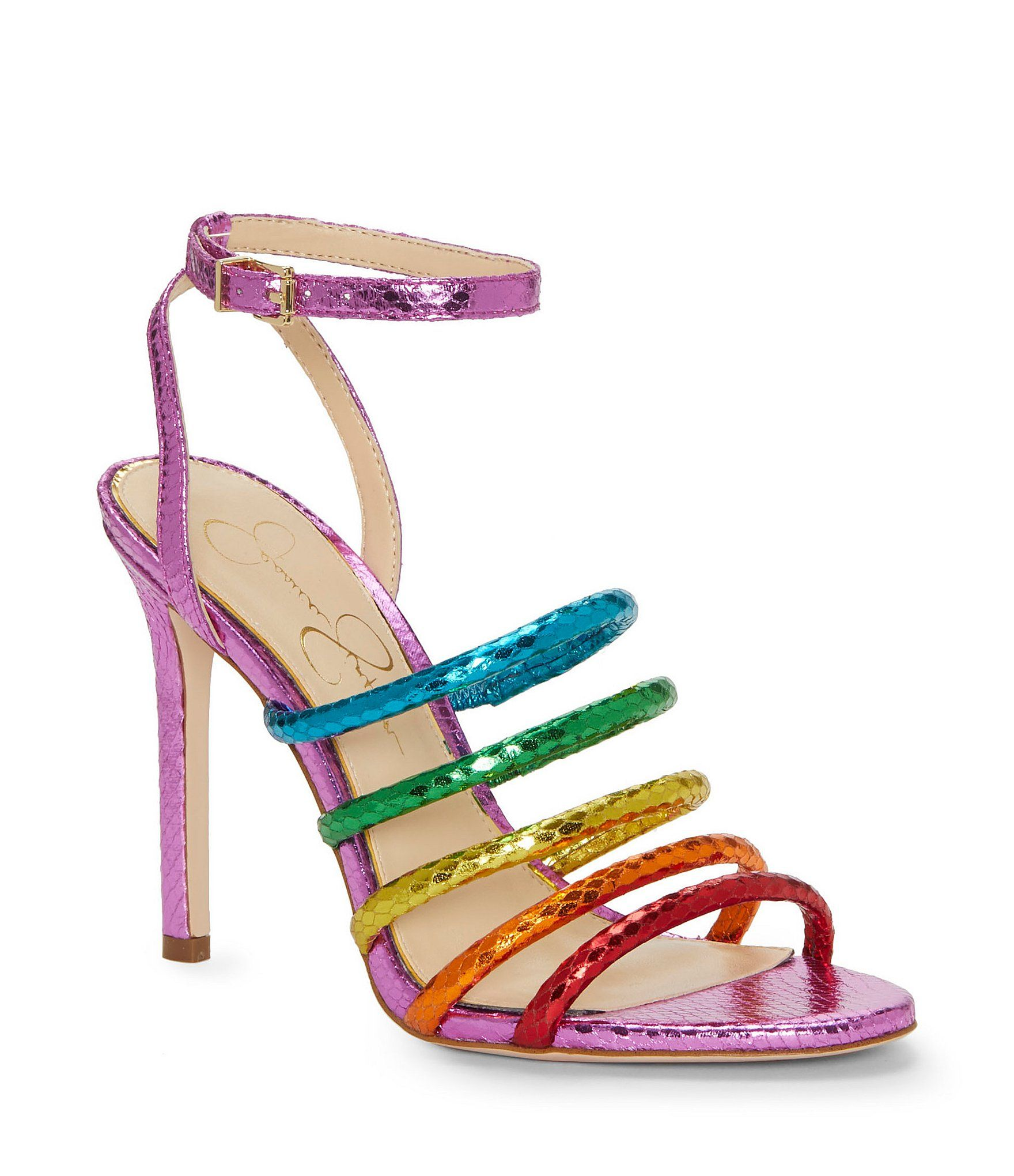 92d174d4fe1 Jessica Simpson Joselle Metallic Rainbow Colorblock Strappy Sandals ...