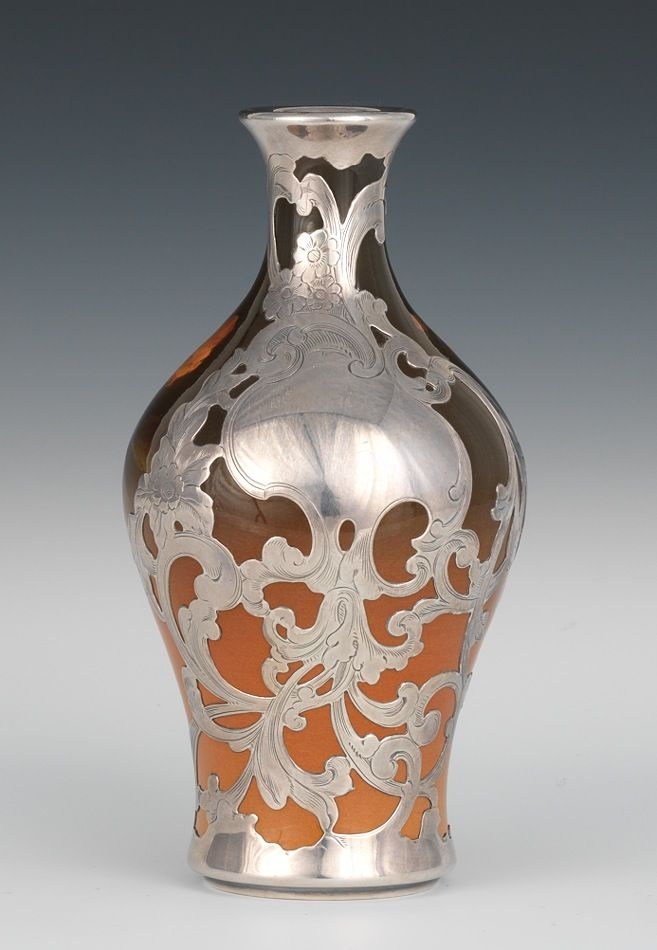 Rookwood Pottery Vase With Silver Overlay Decorated By Constance A