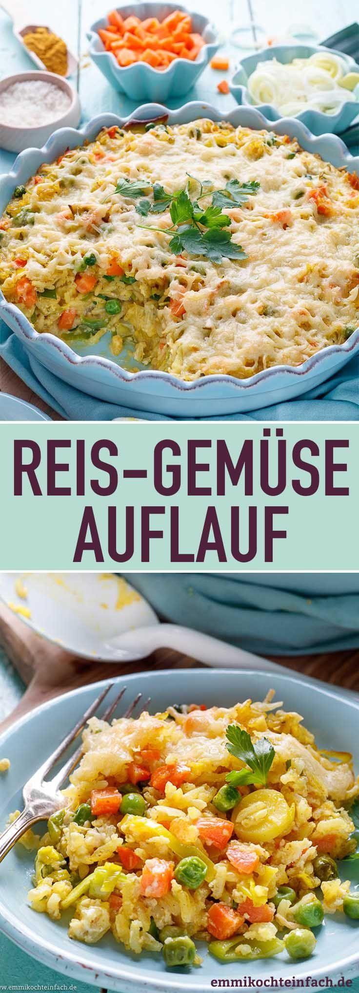 Reis Gemüse Auflauf mit Käse überbacken - emmikochteinfach