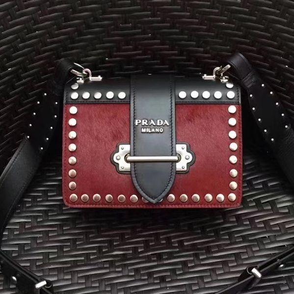 5b939f6fc59 ... inexpensive prada cahier studded calf hair bag 1bd045 black red 2017  deaf2 1c7a0 ...