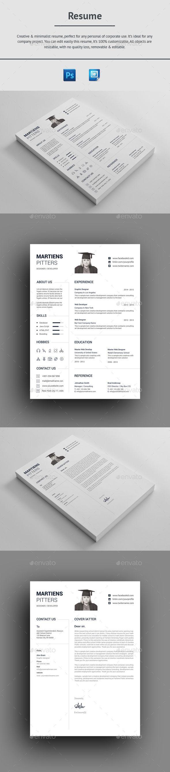 Resume Design Template PSD, MS Word Resume design