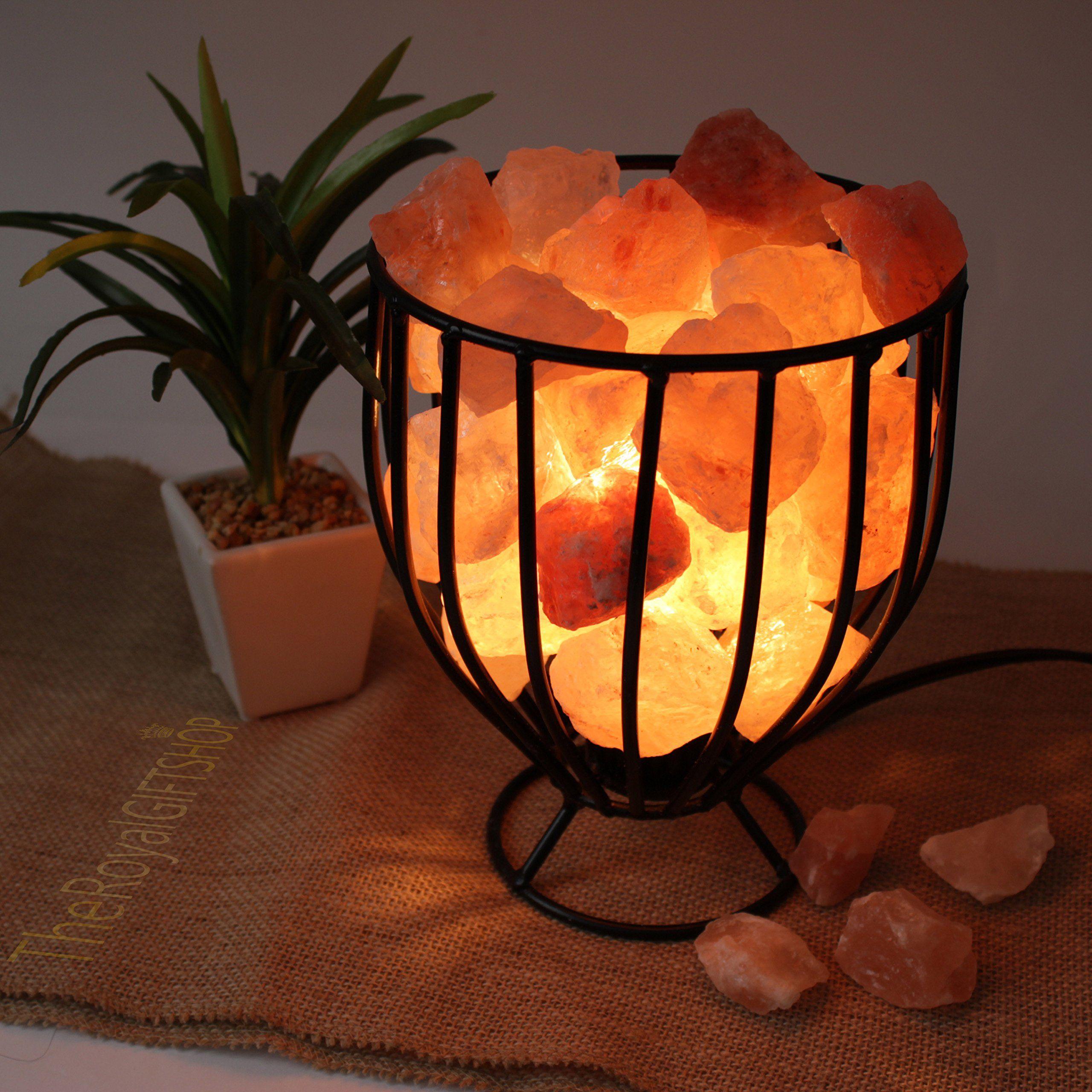 Genuine Glowing Himalayan Salt Lamp Wrought Iron Basket With Ul