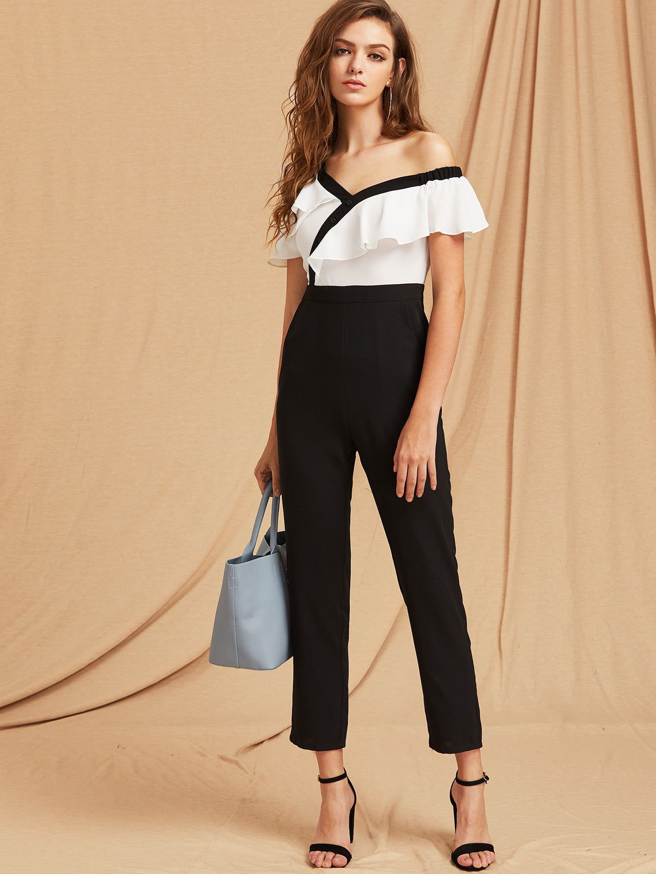 042d7830d77 Two Tone Flounce Asymmetric Shoulder Tailored Jumpsuit -SheIn(Sheinside)