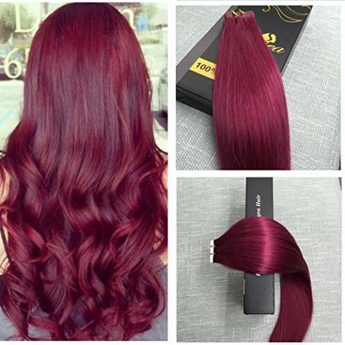 Balayage Brazilian Ombre burgundy PU Tape in Silky Remy Human Hair Extensions #humanhairextensions