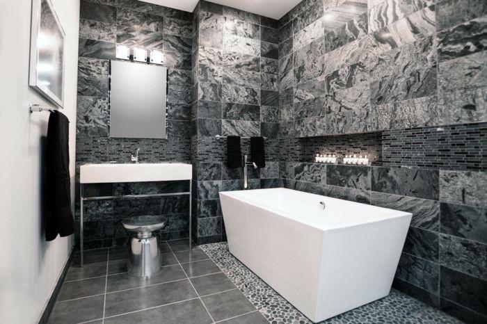 Badfliesen Ideen Cooles Muster Badspiegel Badewanne Weiße Wand Badezimmer  Grau, Dekoration Badezimmer, Luxus Badezimmer