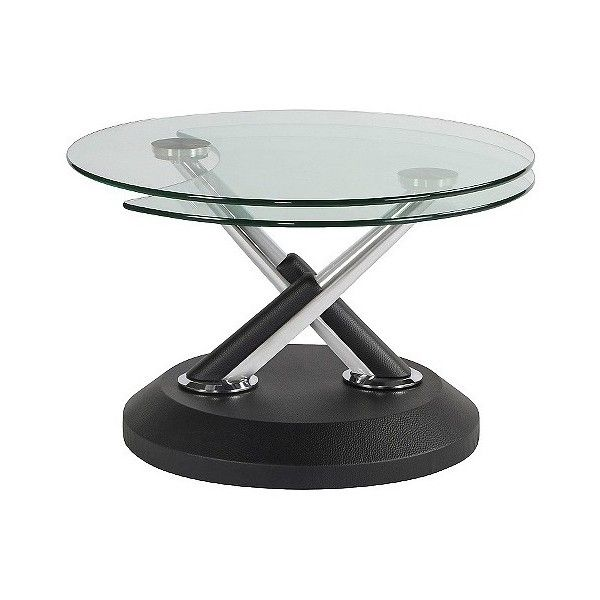 Modesto Metal And Glass Swivel Cocktail Table 390 Liked On Polyvore Featuring Home Furniture Glass Cocktail Tables Black Coffee Tables Black Accent Table