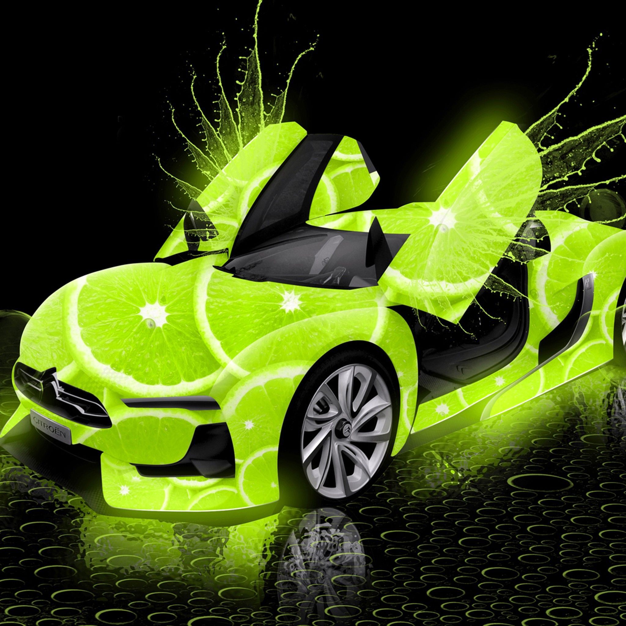 Neon Colored Cars Cars Citroen Lime Photoshop Green Neon 2048x2048 Ipad Wallpapers Neon Car Car Neon