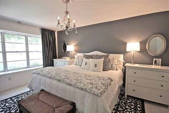 Gray Walls Black And White Bedding Red Sheets And Accents Silver Glass Furniture Or Black And White Modern Gray Master Bedroom Home Bedroom Bedroom Makeover
